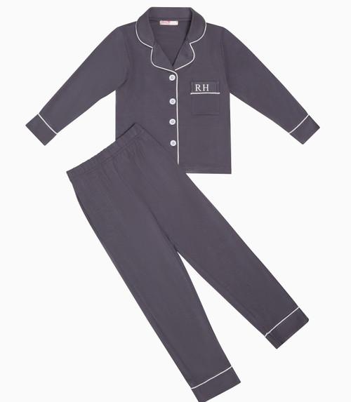 Dark Grey Kids Unisex Super Soft Personalised Pyjama Set