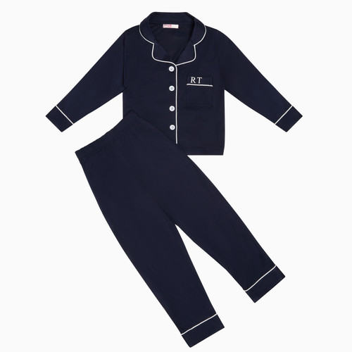 Navy Kids Unisex Super Soft Personalised Pyjama Set
