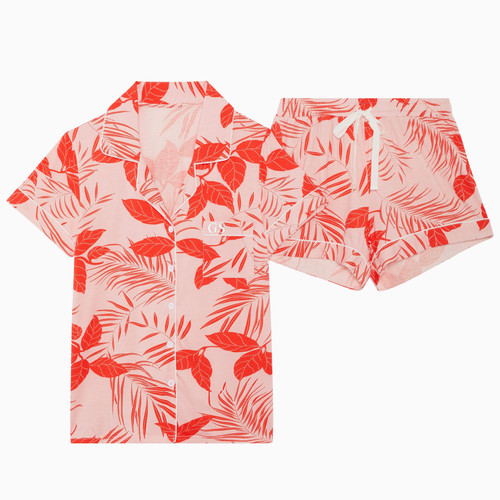 Leaf Print Personalised Short Pyjama Set