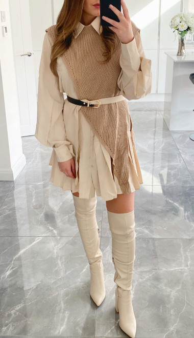 Nude Shirt & Jumper Dress
