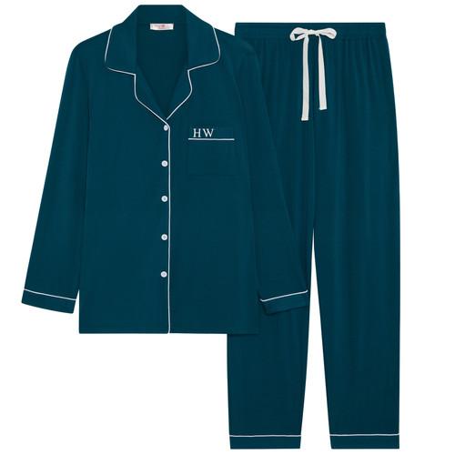 Emerald Green Super Soft Personalised Long Pyjama Set