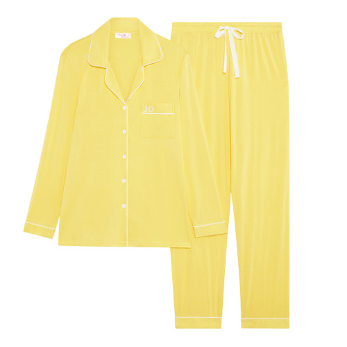 Yellow Super Soft Personalised Long Pyjama Set