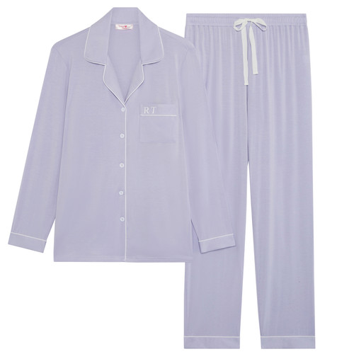 Lilac Super Soft Personalised Long Pyjama Set