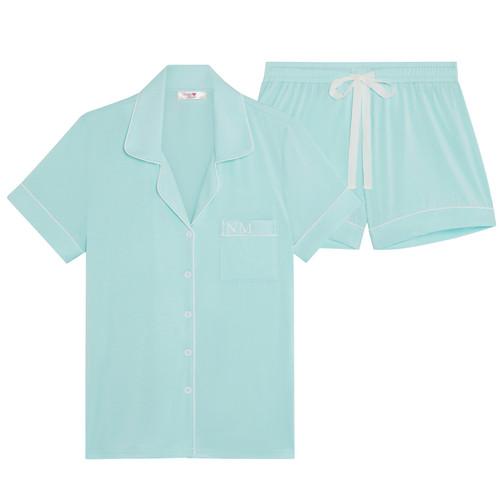 Mint Super Soft Personalised Short Pyjama Set