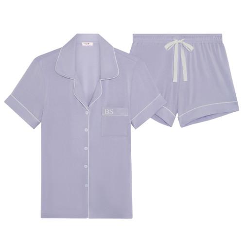 Lilac Super Soft Personalised Short Pyjama Set
