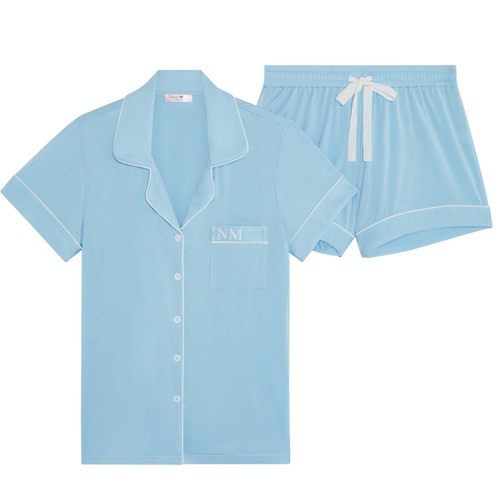 Light Blue Super Soft Personalised Short Pyjama Set