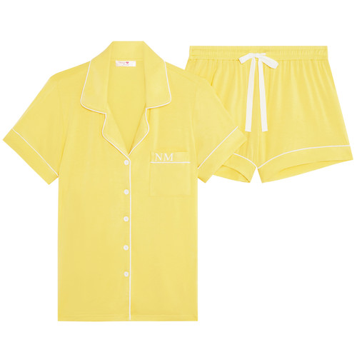 Yellow Super Soft Personalised Short Pyjama Set