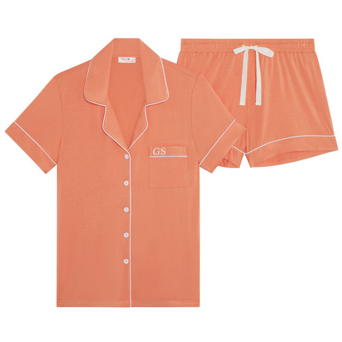Peach Super Soft Personalised Short Pyjama Set