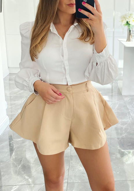 Nude Tailored Flared Shorts