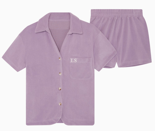 Lilac Towelling Personalised Set