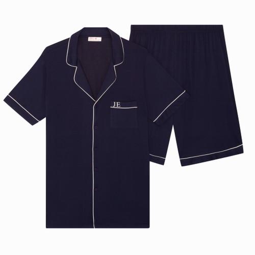 Mens Navy Short Super Soft Personalised Pyjama Set