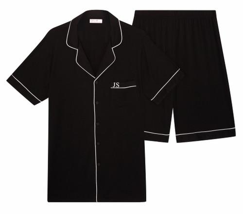 Mens Black Short Super Soft Personalised Pyjama Set