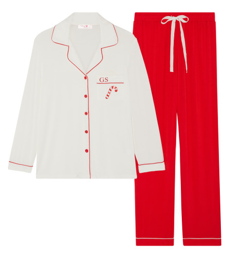 *Limited Edition*  Long Super Soft Christmas Candy Cane Personalised Pyjama Set