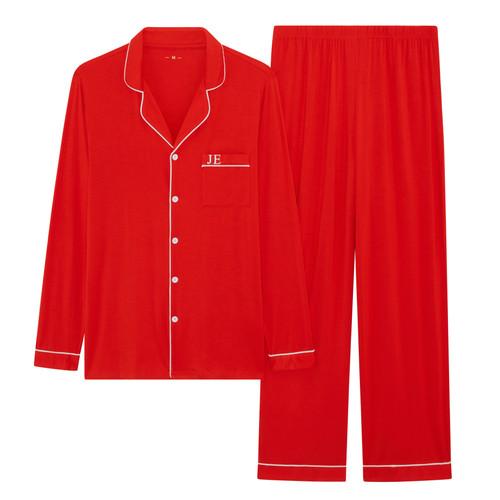 Mens Red Long Super Soft Personalised Pyjama Set
