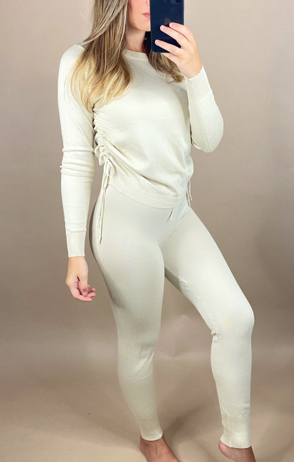 Nude Ruched Knit Lounge Set