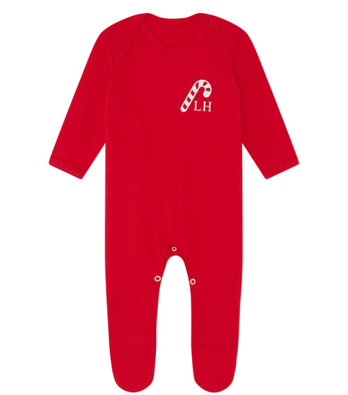 Red Candy Cane Personalised Super Soft Babygrow