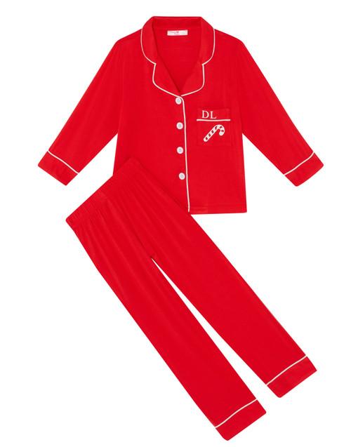 Red Candy Cane Kids Unisex Super Soft Personalised Pyjama Set