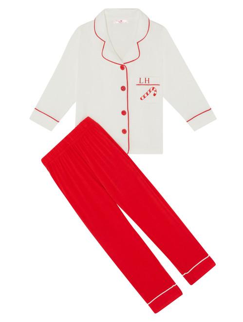 Kids Unisex *Limited Edition* Super Soft Christmas Candy Cane Personalised Pyjama Set