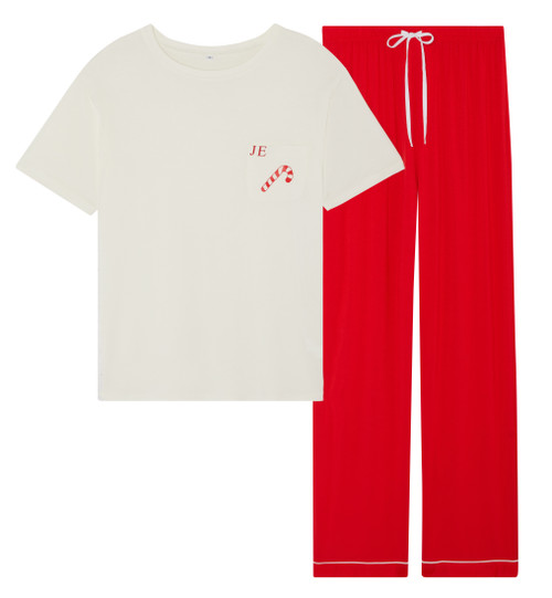 Mens *Limited Edition* Candy Cane Super Soft Personalised Pyjama Set