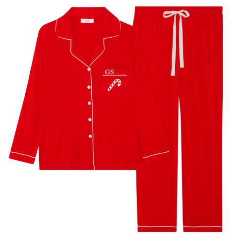 Red Candy Cane Personalised Super Soft Long Pyjama Set