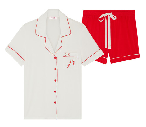 *Limited Edition* Short Super Soft Christmas Candy Cane Personalised Pyjama Set