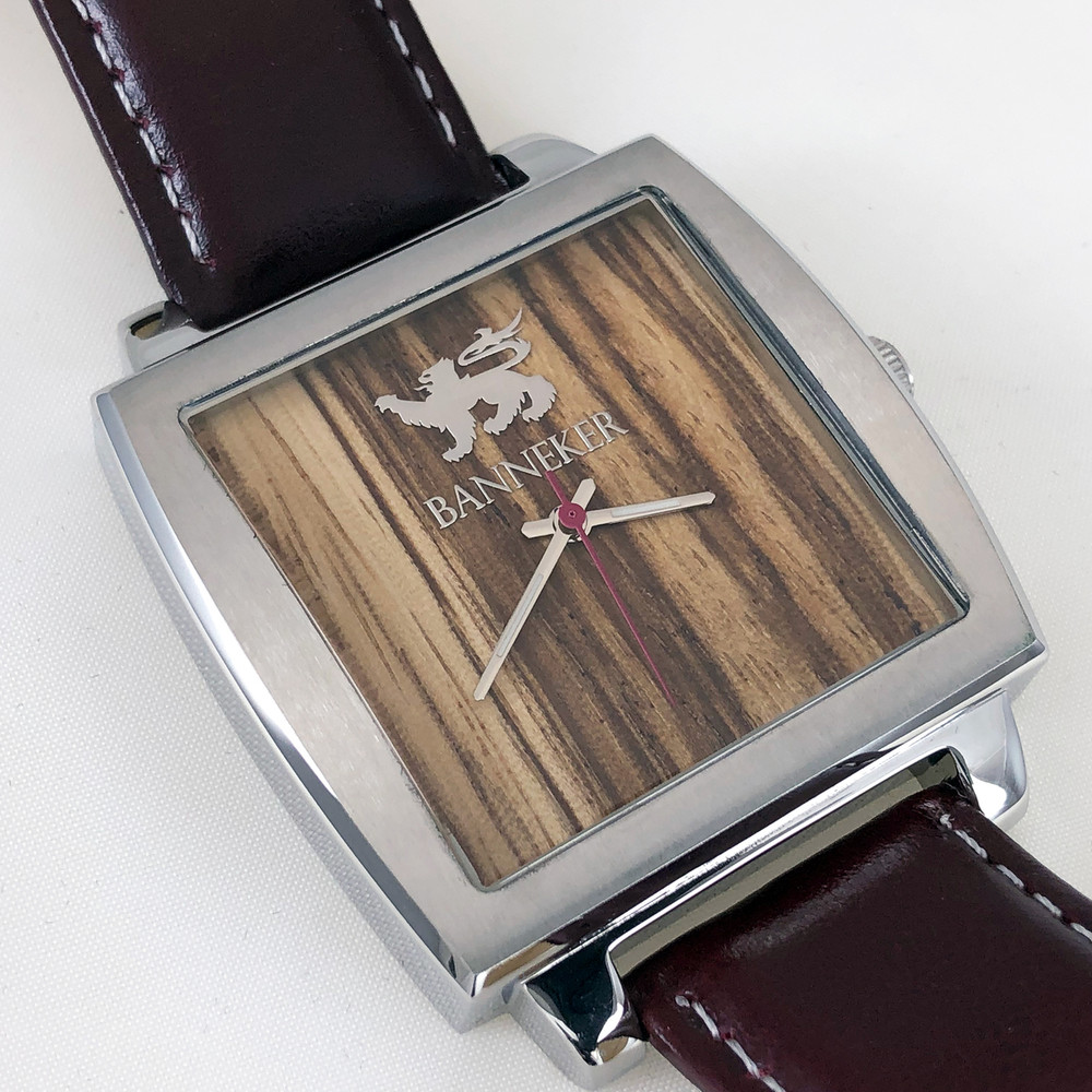 Burgundy Leather Banneker Strap with white stitching looks good with virtually anything.  Zebra Wood Face is guaranteed to provoke conversation and inspire awe.