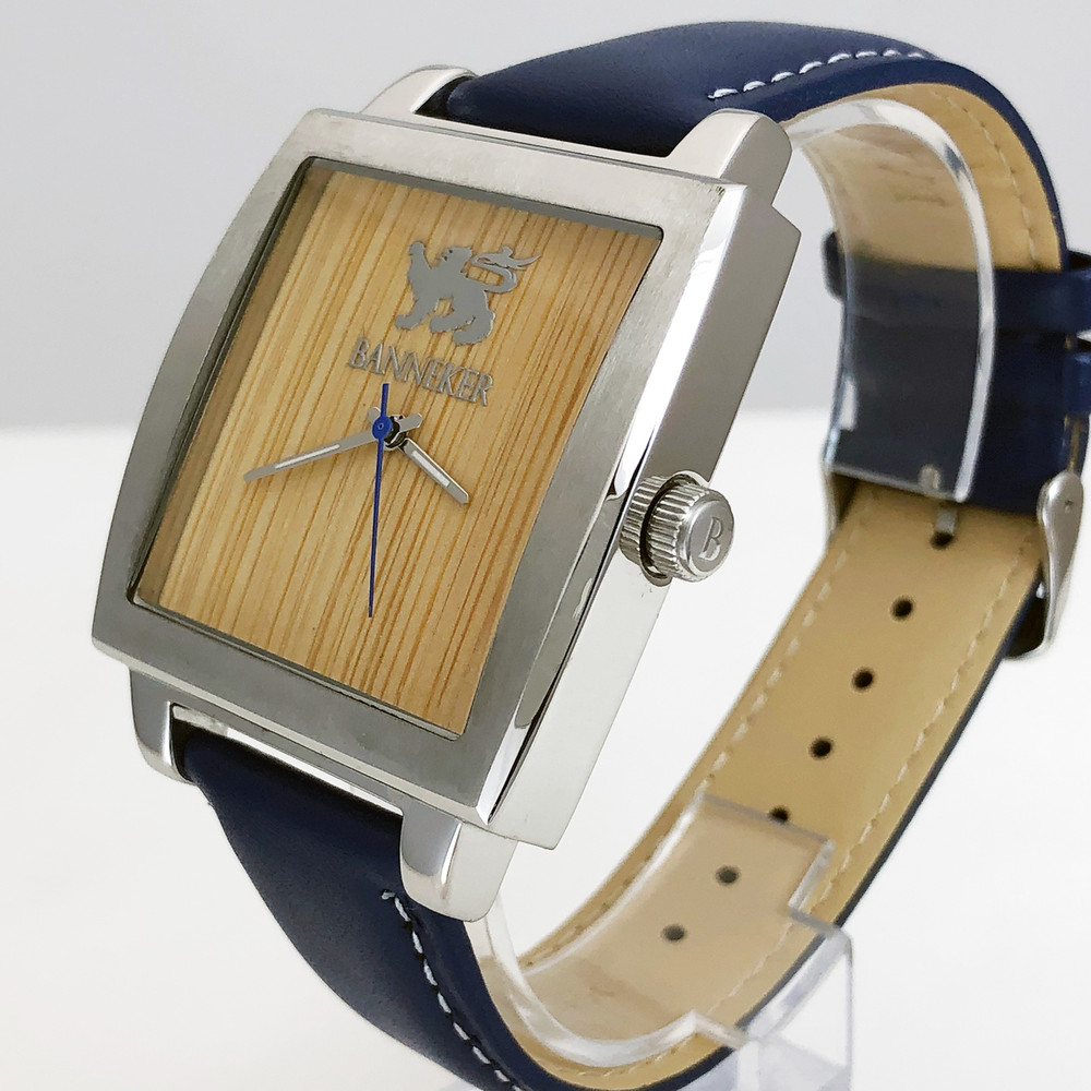 Carbonized Bamboo Wood Face and Custom Banneker Leather Strap make this watch as unique as it is eye catching.