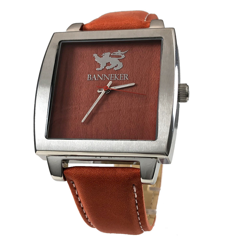 Wood Watch with a timeless classic design.  The Baller by Banneker is stunning  with sleek lines, stainless steel case, Burnt Orange Banneker Strap, and a real Red Sandalwood face with a grain that is as unique as the person wearing it.  The Baller Watch is our All Time Best Seller.