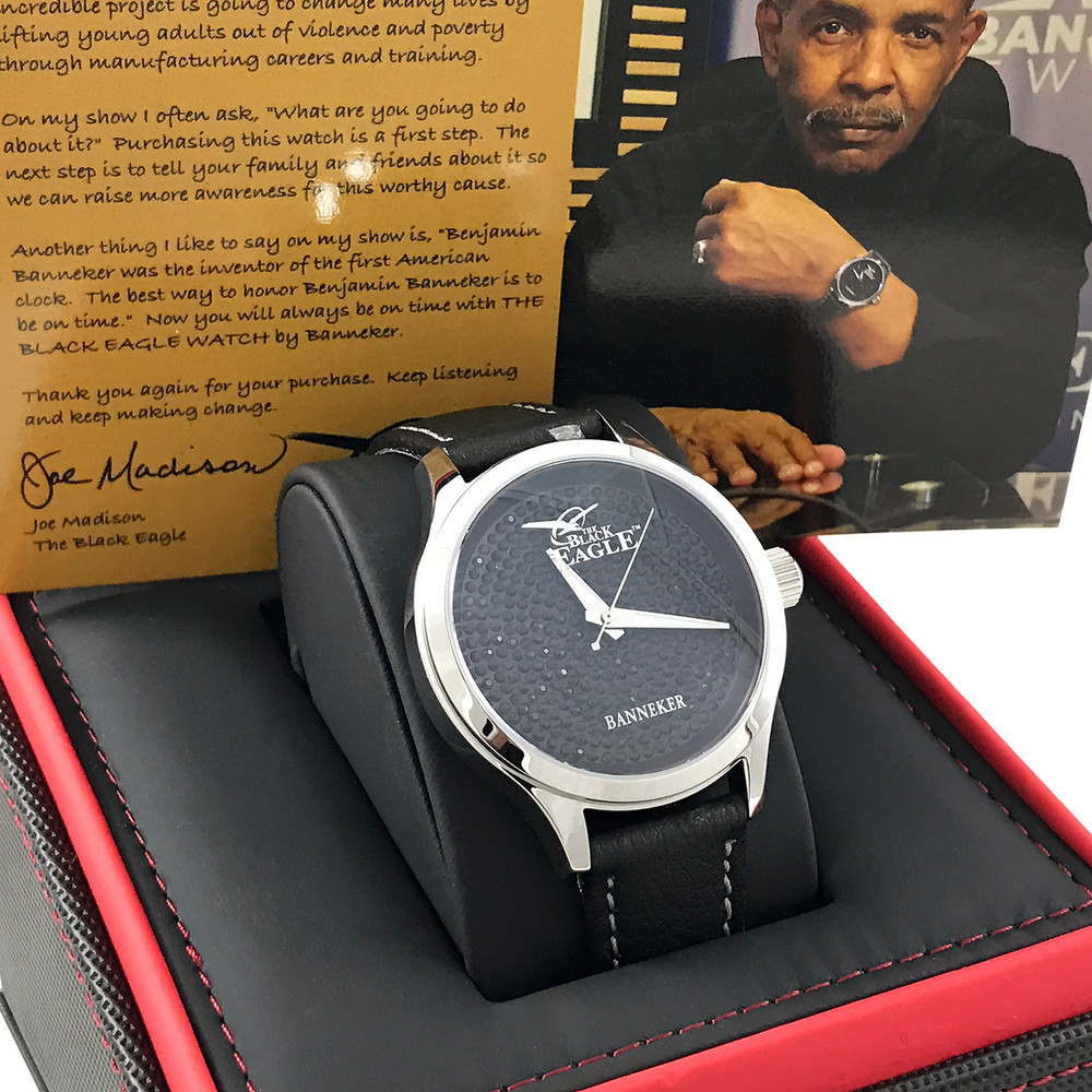 "The Black Eagle Watch is the signature watch for Joe Madison.  Classic Style, Timeless Design, Stainless Steel, Leather Band, Limited Edition Numbered on Back, Swiss Movement, and ""Black Eagle"" Cubic Zirconia stones."