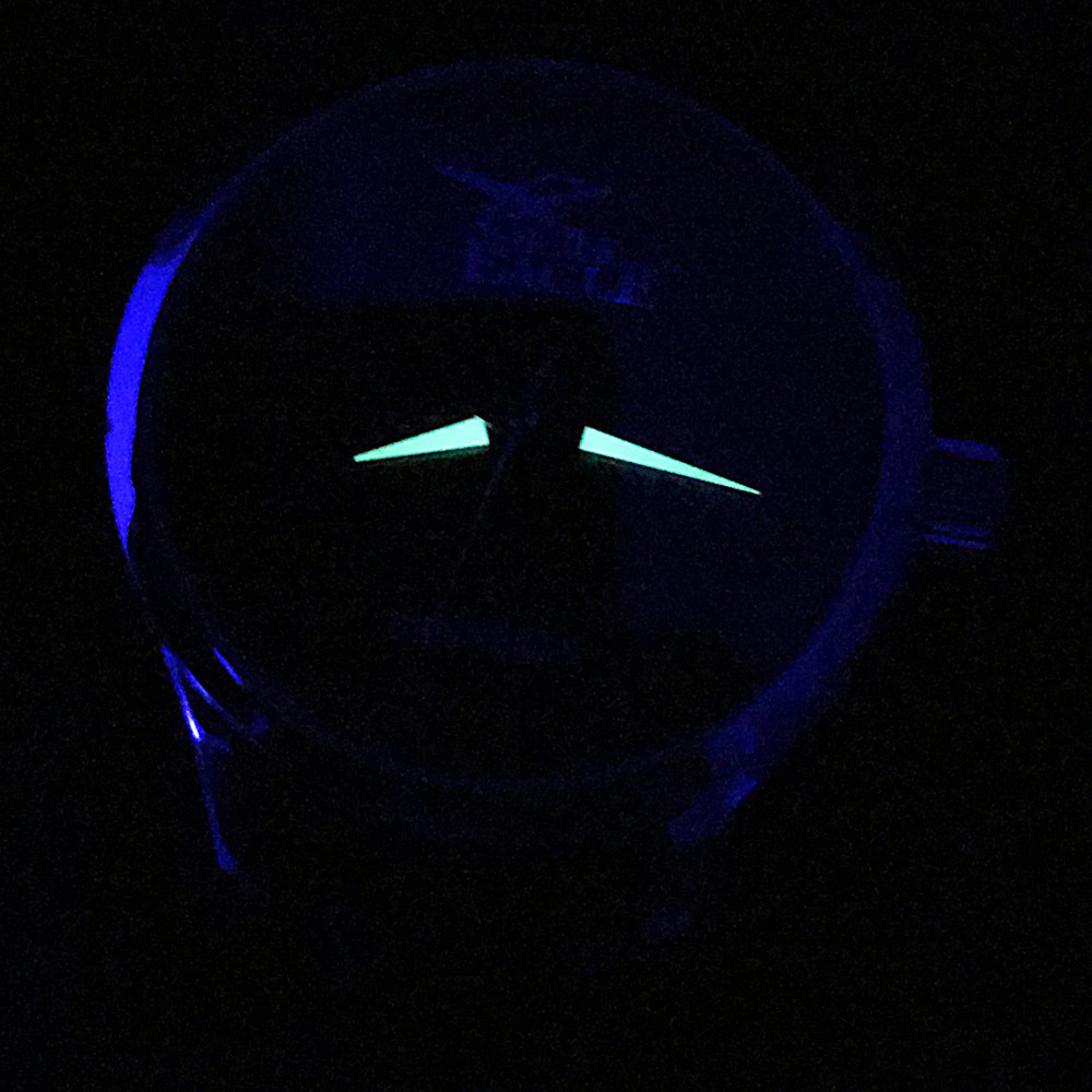 Luminous Coating captures light so and provides a Glow-In-The-Dark effect on your watch when the lights turn out