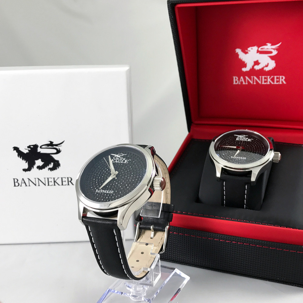 The Black Eagle Watch by Banneker combines Real Wood on the Case Back with the Black Eagle Matte Black Cubic Zirconia stones on the face to create a look unlike anything that has been seen before on a watch.  As unique as it is stunning this limited edition timepiece is selling fast.  Pre-Order now to ensure you don't miss the chance to add this watch to your collection.