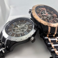 Automatic XO Skeleton Movement, Rose Gold or Silver and Black Ionic Plating, Real Wood Face, Cutout Center and Clear Back provide full clear view of the inner workings.