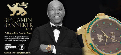 "Russell Simmons wearing Benjamin Banneker Gold ""Me"""