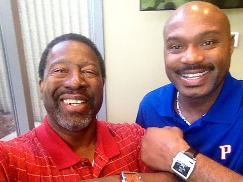 Tim Hardaway and Tony Keeling wearing the Baller by Banneker