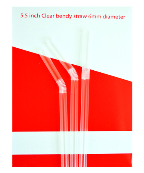 Box of 250, 10 inch by 6mm Clear Alcopop Straight Straw