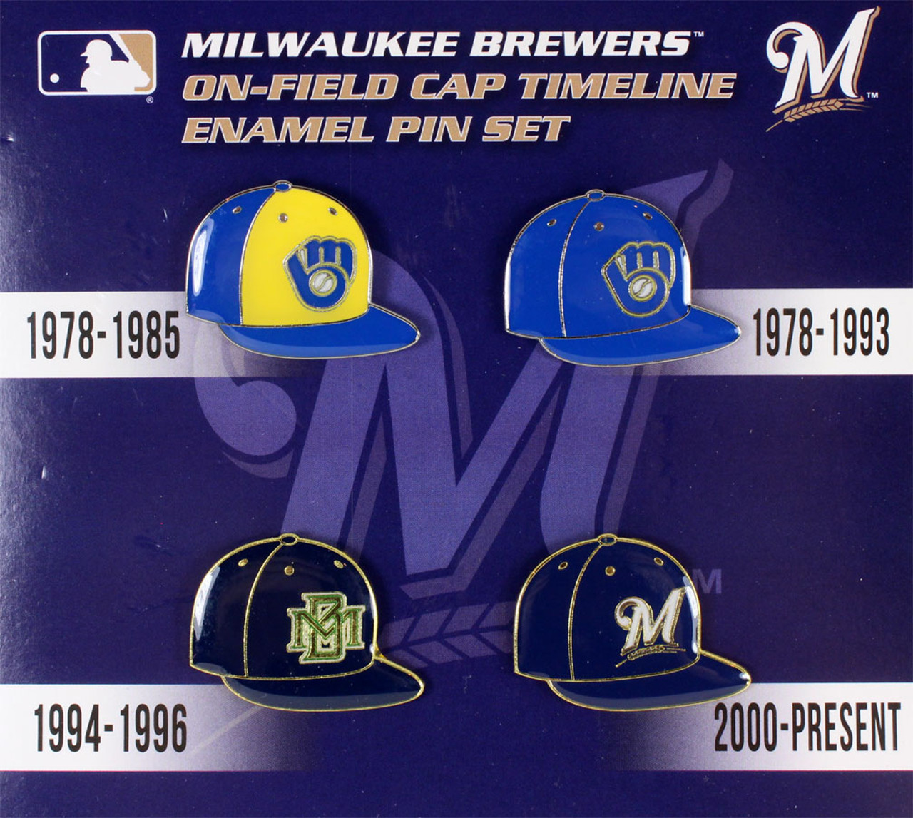 d72e9a78f Milwaukee Brewers Cooperstown Collection Cap Timeline Pin Set