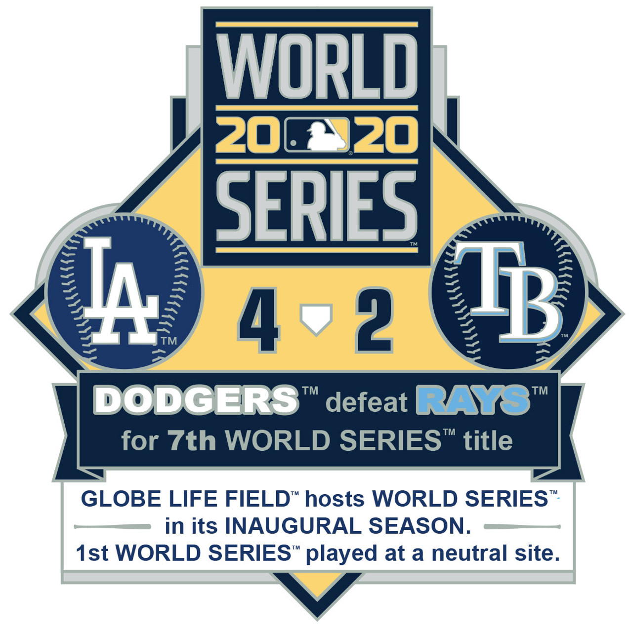 Limited Edition of 2,020 Dodgers vs 2020 World Series Commemorative Lapel Pin Set Rays