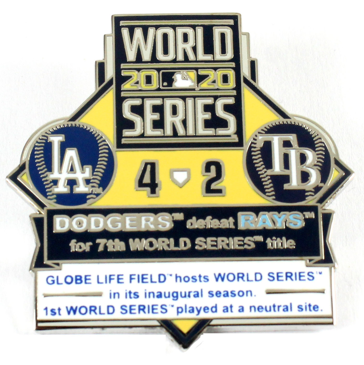 Rays 2020 World Series Commemorative Pin Set Limited Edition of 2,020 Dodgers vs
