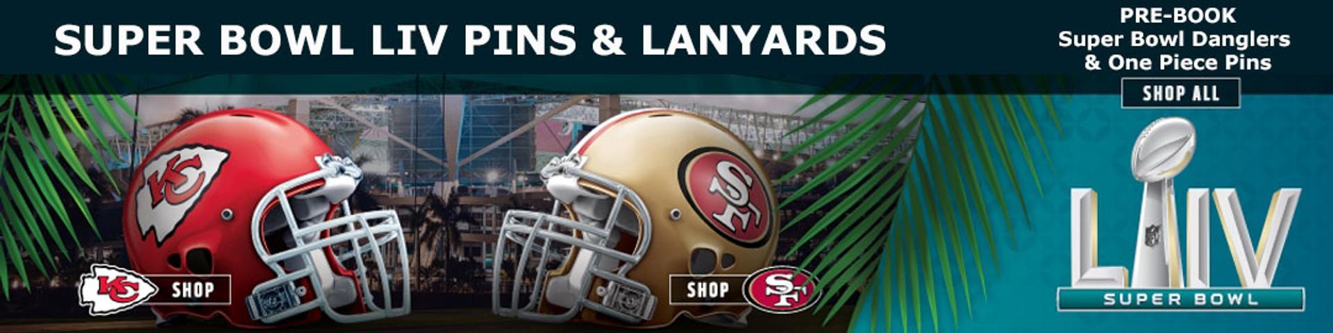 Super Bowl 54 pins and lanyards