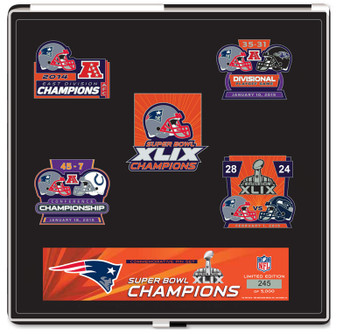 New England Patriots Super Bowl XLIX (49) Champions Five Pin Set - Limited 5,000
