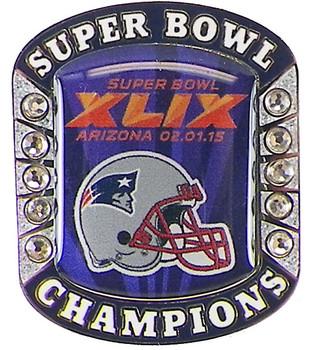 New England Patriots Super Bowl XLIX (49) Champions Pin - Champs Ring Style