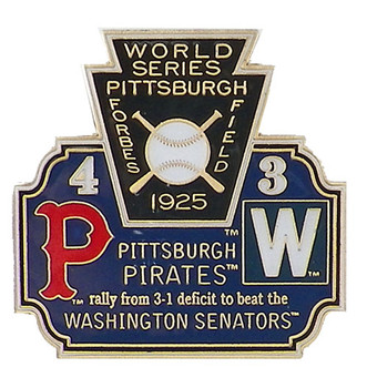 1925 World Series Commemorative Pin - Pirates vs. Senators