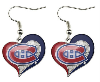 Montreal Canadiens Swirl Heart Earrings