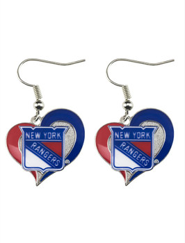 New York Rangers Swirl Heart Earrings