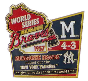 1957 World Series Commemorative Pin - Braves vs. Yankees