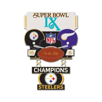 Super Bowl IX (9) Commemorative Dangler Pin - 50th Anniversary Edition