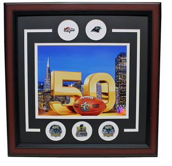 Commemorate and remember the Super Bowl L (50) with this great looking framed pin photo collage