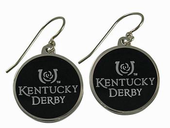 Kentucky Derby Black Oval Silver Earrings