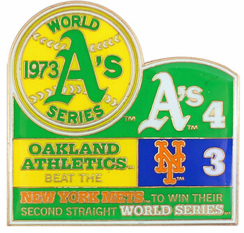 1973 World Series Commemorative Pin - A's vs. Mets