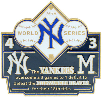 1958 World Series Commemorative Pin - Yankees vs. Braves